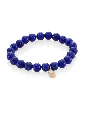 Blue Lapis, Diamond & 14K Gold Rondelle Lock Bracelet