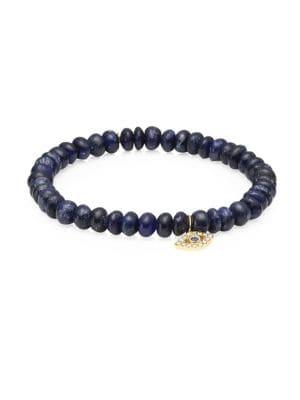 Sapphire, Diamond & 14K Gold Rondelle Bezel Eye Bracelet