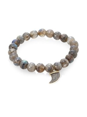 Labradorite, Brown Diamond & Two-Tone Gold Rondelle Horn Bracelet