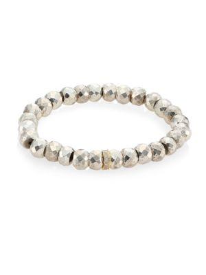 Silver Pyrite, Diamond & 14K Yellow Gold Rondelle Spacer Bracelet