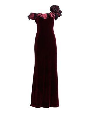 Ruffle One-Shoulder Velvet Gown
