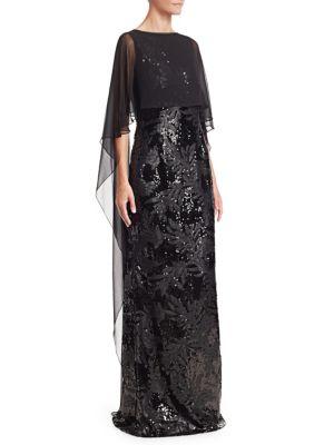 TERI JON BY RICKIE FREEMAN Chiffon Overlay Sequined Gown
