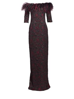 TERI JON BY RICKIE FREEMAN Feather-Trimmed Print Gown
