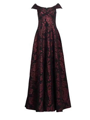 TERI JON BY RICKIE FREEMAN Off-The-Shoulder Printed Dress