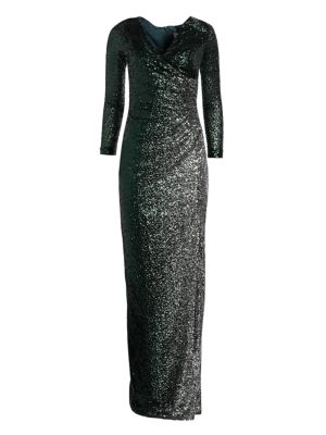 Long Sleeve Side Slit Sequin Dress