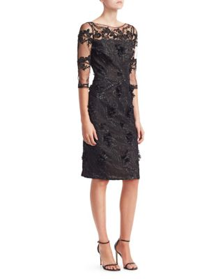 DAVID MEISTER Floral Lace Sheath Dress