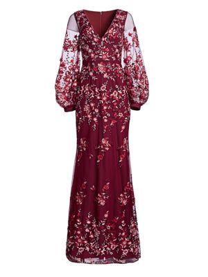 DAVID MEISTER Floral-Embroidered Deep V-Neck Gown