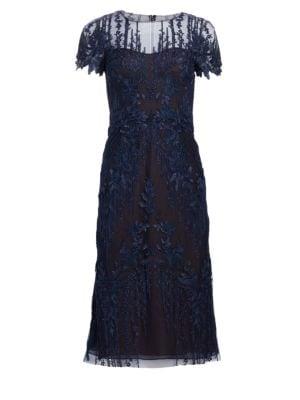 DAVID MEISTER Floral-Embroidered A-Line Dress