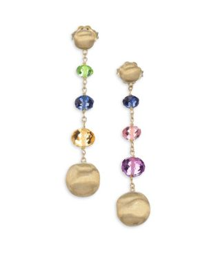 Africa 18K Yellow Gold & Mixed Gemstone Drop Earrings