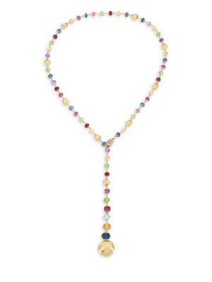 MARCO BICEGO 18K Yellow Gold & Mixed Gemstone Lariat Necklace