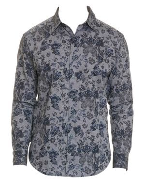 Barker Print Button-Down Shirt