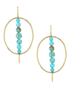 18K Nova Turquoise Gold Matrix & 18K Yellow Gold Hoop Earrings