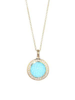 IPPOLITA Lollipop 18K Yellow Gold, Clear Quartz over Turquoise & Diamond Mini Pendant Necklace