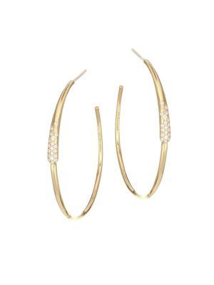 IPPOLITA Stardust 18K Yellow Gold & Diamond No.3 Pavé Twisted Ribbon Hoop Earrings