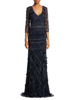 THEIA Embroidered V-Neck A-Line Gown