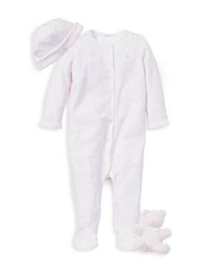 Baby Girl's Three-Piece Footie, Hat & Bear Set