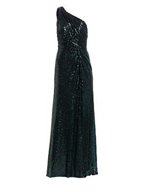 RENE RUIZ One-Shouldered Sequined Gown in Emerald