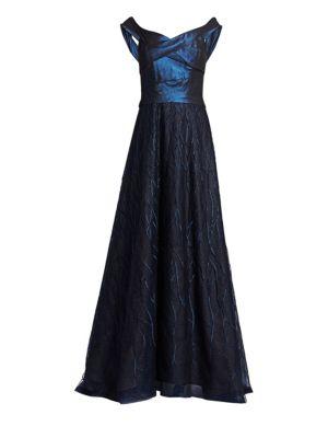 RENE RUIZ Off-The-Shoulder Embellished A-Line Gown