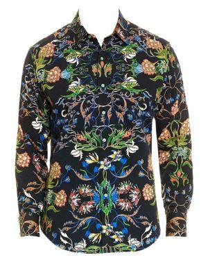 Warner Vibrant Botanical Print Button-Down Shirt