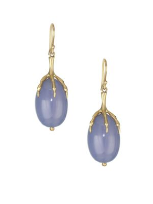 ANNETTE FERDINANDSEN Fauna Blue Chalcedony, Crystal & 14K Yellow Gold Quail Egg Drop Earrings