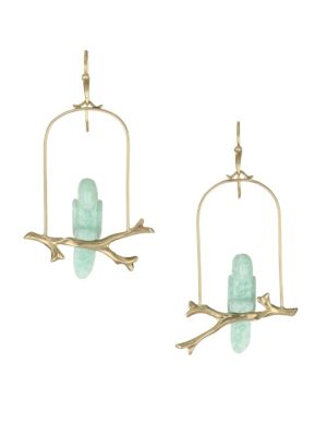 ANNETTE FERDINANDSEN Tropical Aventurine, Crystal & 14K Yellow Gold Drop Earrings