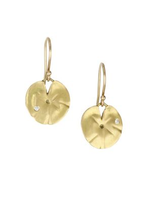 ANNETTE FERDINANDSEN Flora Diamond, Crystal & 14K yellow Gold Lily Pad Post Earrings