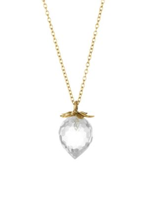 ANNETTE FERDINANDSEN Flora 14K Yellow Gold & Crystal Strawberry Pendant Necklace