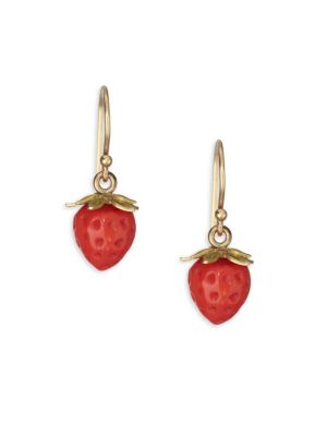 ANNETTE FERDINANDSEN Flora Red Coral, Crystal & 18K Yellow Gold Strawberry Post Earrings