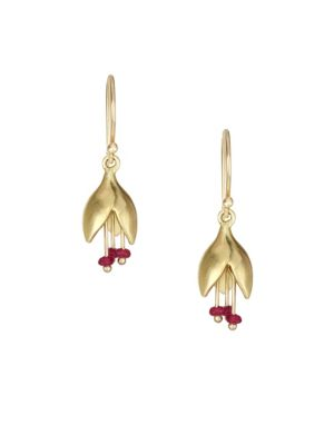 Ruby & 14K Yellow Gold Flower Bud Drop Earrings