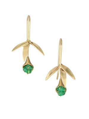 ANNETTE FERDINANDSEN Flora Emerald, Crystal & 14K Yellow Gold Wildflower Post Earrings