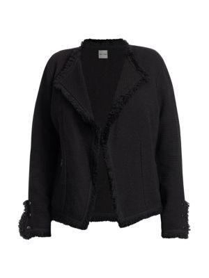 Fringed Mixed Knit Jacket