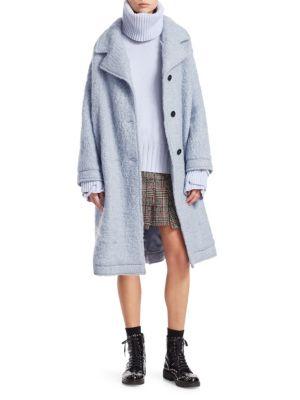 Wool-Blend Three-Button Teddy Coat