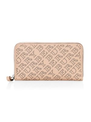 Perforated Leather Ziparound Wallet, Pale Fawn
