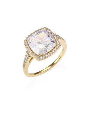 18K Gold Sterling Silver Framed Square Ring