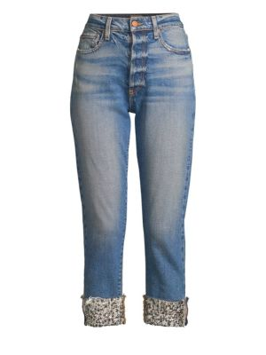 AO.LA BY ALICE + OLIVIA | Amazing High-Rise Embellished Hem Jeans | Goxip