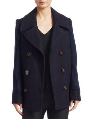 Knit Sleeve Pea Coat
