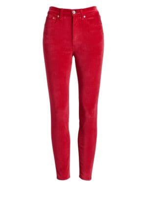 High-Rise Velvet Skinny Jeans
