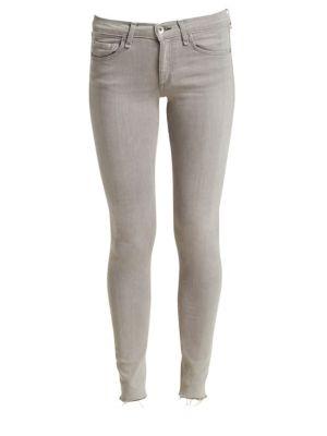 Mid-Rise Raw Hem Skinny Ankle Jeans