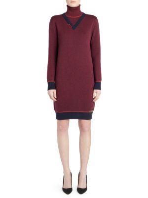Wool Turtleneck Logo Dress