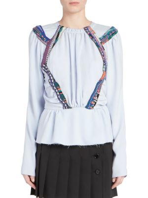 CARVEN Long Sleeve Scarf Trimmed Blouse