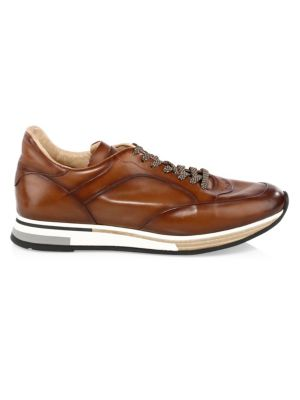 Patina Leather Low-Top Sneakers