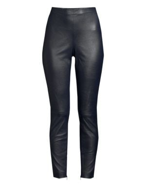 Stretch Nappa Leather Cropped Leggings