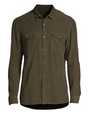Fine-Ribbed Snap Button Shirt