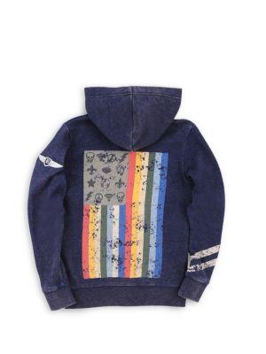 Little Boy's & Boy's Mineral Wash Graphic Hoodie