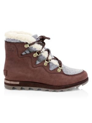 Sneakchic Alpine Faux Shearling-Trimmed Nubuck Ankle Boots in Brown