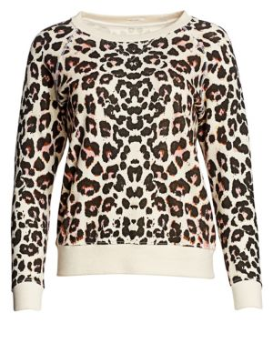 MOTHER Animal Print Cotton Sweatshirt