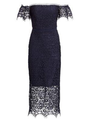 ML MONIQUE LHUILLIER Off-The-Shoulder Lace Overlay Sheath Dress