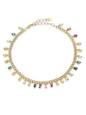 Rainbow 18 K Gold Mixed Gemstone & Diamond Choker Necklace by Shay