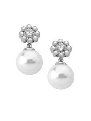 Exquisite Crystal Flower Faux-Pearl Drop Earrings