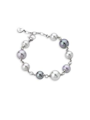 Exquisite Faux-Pearl Sterling Silver Bracelet